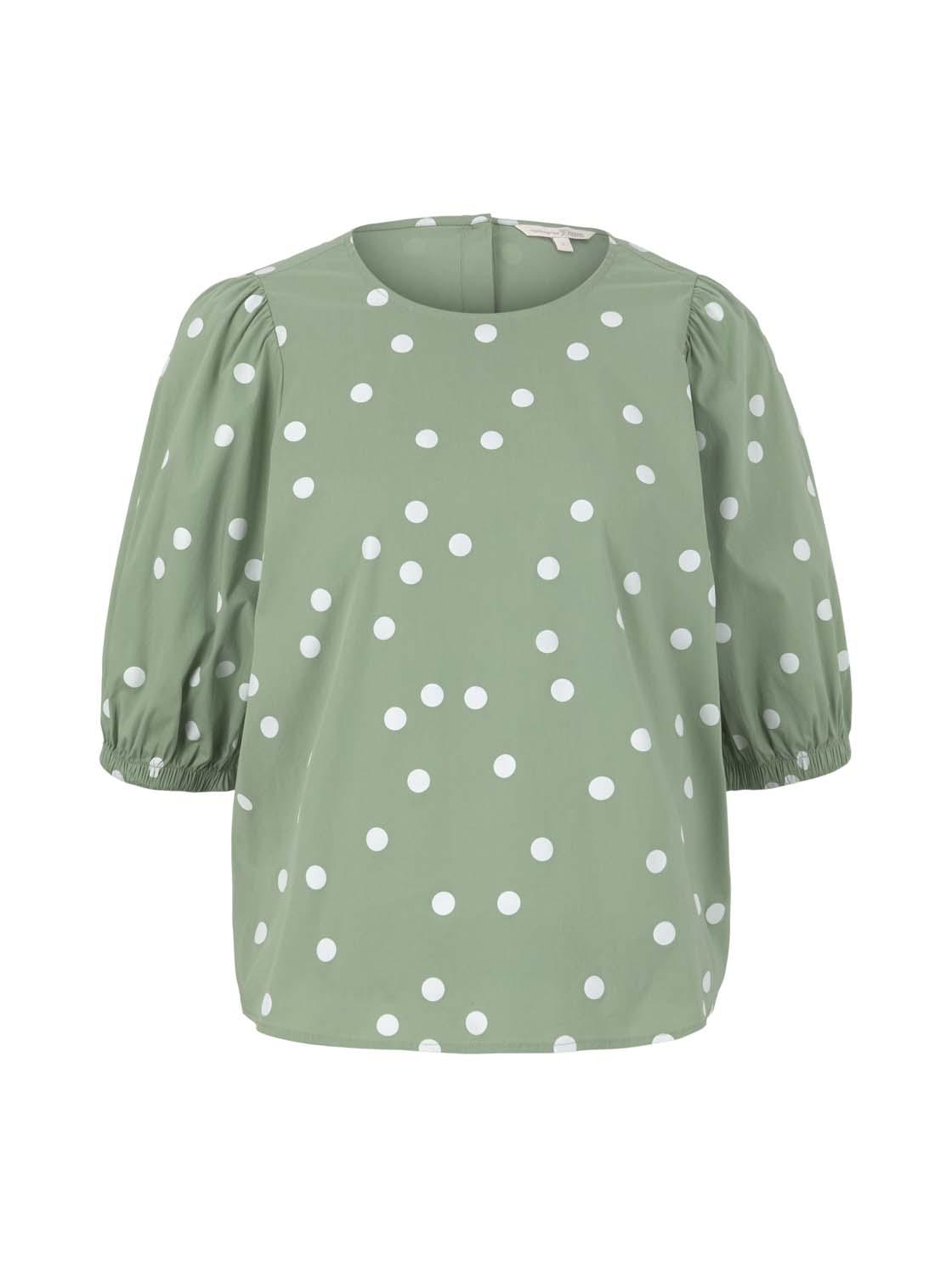 balloon sleeve dot blouse