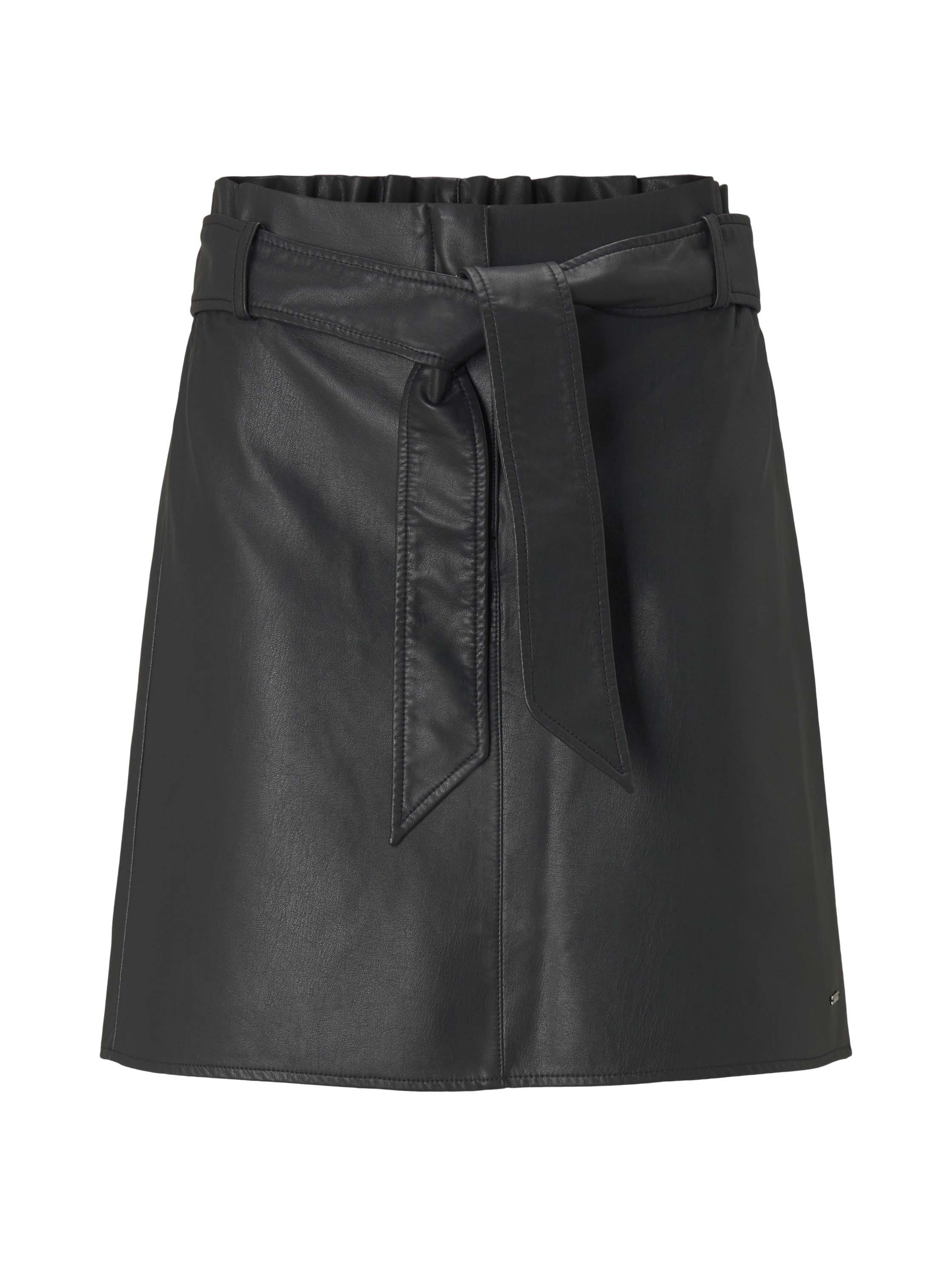 belted pu mini skirt