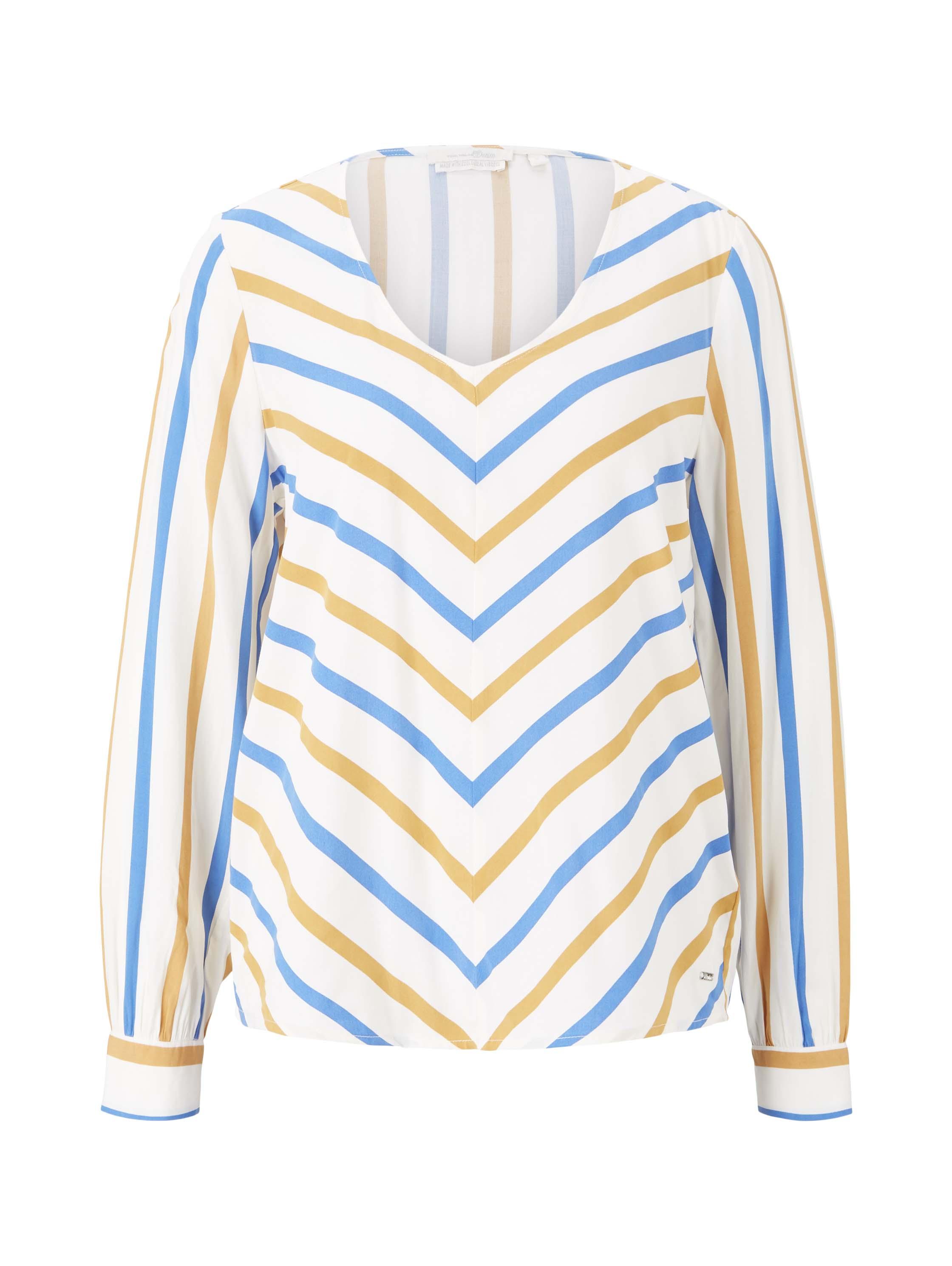 creme yellow blue stripe