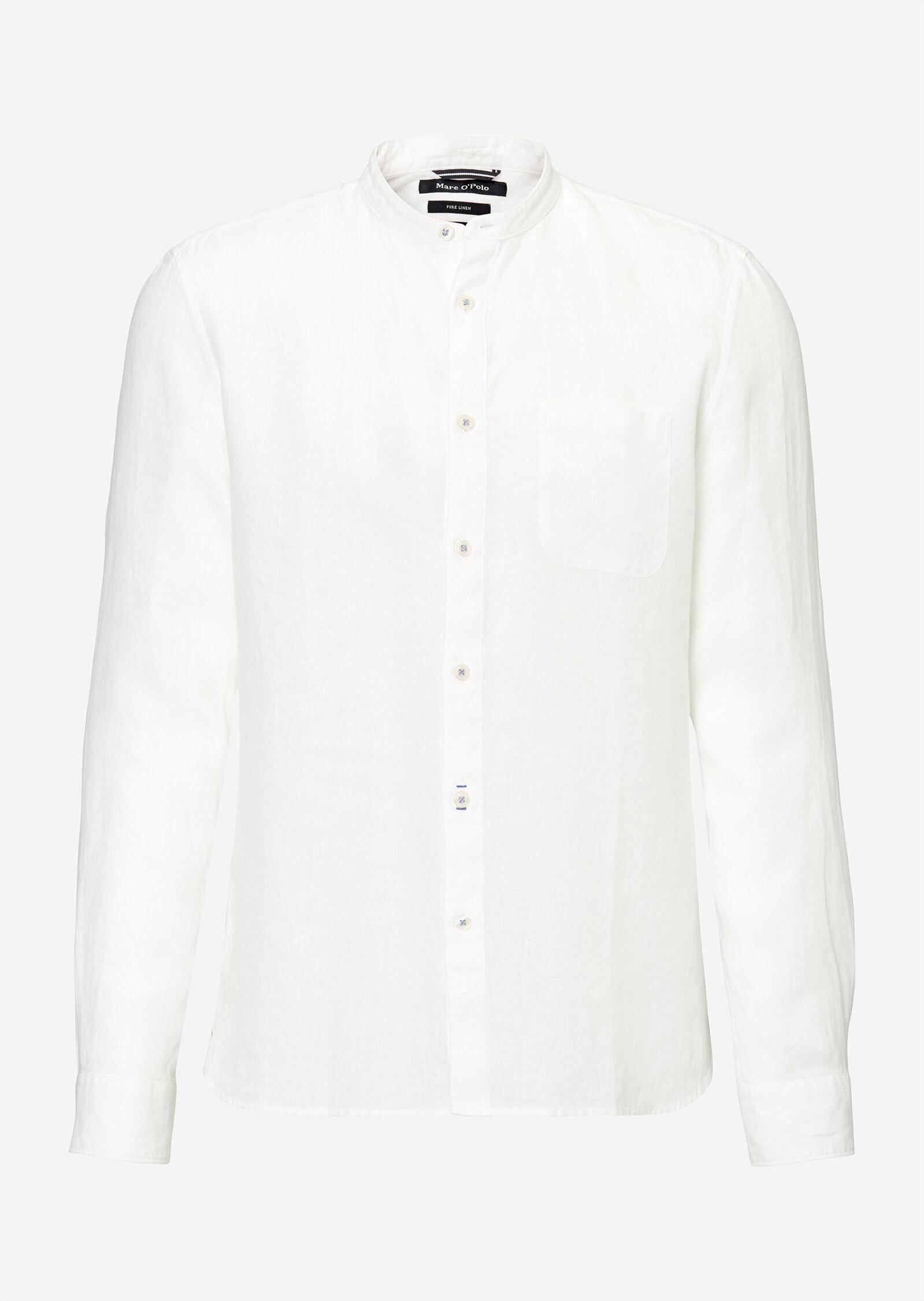 Band collar,long sleeve,one pocket,