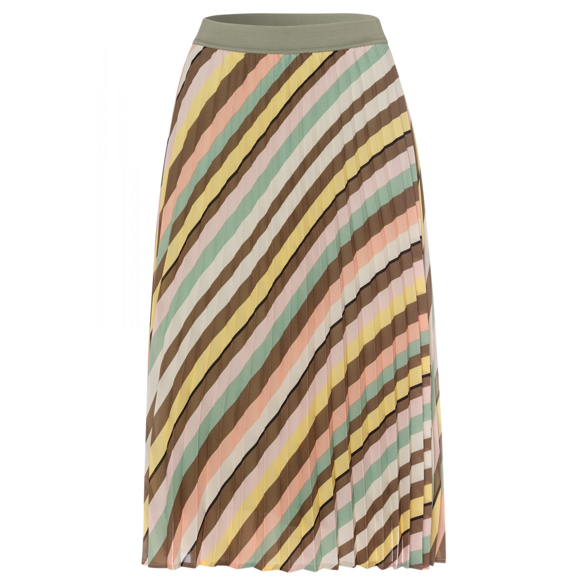 Diagonal Stripe Plissee Skirt Acti