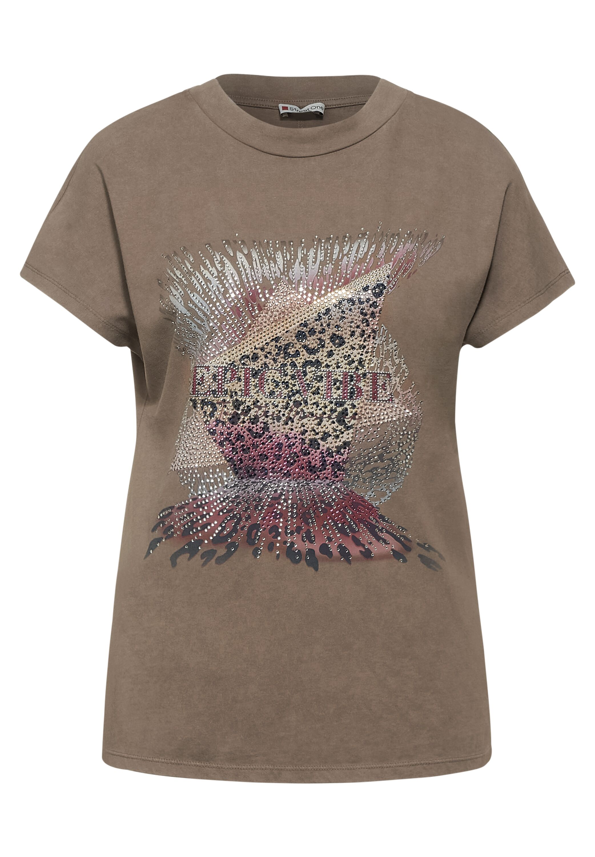 washed partprint shirt